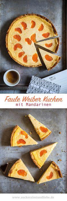 Faule Weiber Käsekuchen mit Mandarinen - baked german quark cheesecake with clementines - www.zuckerzimtundliebe.de