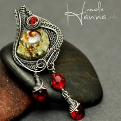 Green Shell and Red Crystal Wire Wrapped Pendant