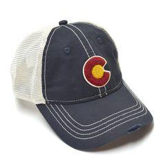 21b238da823879 Classic Colorado Flag Vintage Mesh Trucker Hat - NAVY/IVORY Hats For Women,  Navy