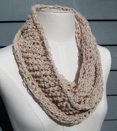 Cotton Infinity Scarf  Sand by SimpleKnitShop on Etsy