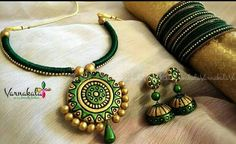 Terracotta Jewelry Silk Thread Jewelry Set GREEN & by Varnakala Terracotta Jewellery Making, Terracotta Jewellery Designs, Terracotta Earrings, Thread Jewellery, Thread Bangles, Teracotta Jewellery, Funky Jewelry, Polymer Clay Necklace, Handmade Jewelry Designs