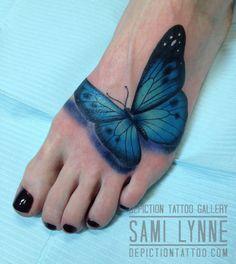 Artist : Samantha Frederick Owner of   Depiction Tattoo Gallery in Arlington, TX  #depictiontattoogallery #arlingtontattooshop #ftworthtattooshop #dallastattooshop #dfwtattooshop #tattoos #tattooinspiration #tattooideas #colortattoo #femaletattooer #femaletattooartist #womentattoos #girlytattoo #3dtattoos #3dbutterflytattoos #butterflytattoos #realistictattoos #foottattoos #smalltattoos