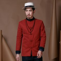 Modern Frog Button Lyocell Chinese Tang Jacket - Claret - Chinese Jackets - Men