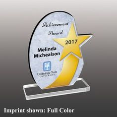 Large Oval w/Star Shaped Full Color Acrylic Award Acrylic Trophy, Custom Trophies, Acrylic Awards, Trophy Design, Star Shape, Corporate Gifts, Cnc, Woodworking, Stars