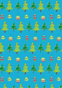 Christmas tree scrapbook paper blue background with stripes of quirky green Christmas trees and Christmas baubles