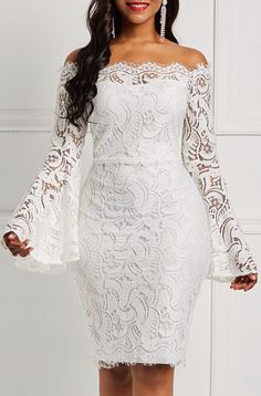 Silhouette: Bodycon Dress Length: Knee-Length Sleeve Length: Long Sleeve Sleeve Type: Flare Sleeve Neckline: Off. African Lace Styles, Short African Dresses, Latest African Fashion Dresses, Dress Fashion, Fashion Vest, Fashion Fall, Womens Fashion, Latest Fashion, Fashion Trends