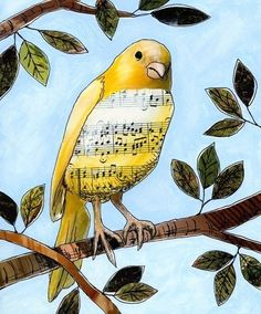 Bird Collage Art ... Songbird 3 by Amy Giacomelli