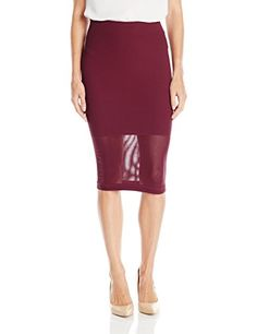 BCBGeneration Womens Mesh Panel Pencil Skirt Bordeaux XSmallSmall *** Want to know more, click on the image.