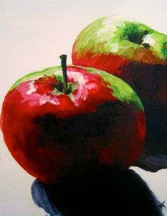 Print Two Beautiful Bright Apples by RachelLynnHeisey on Etsy, $45.00