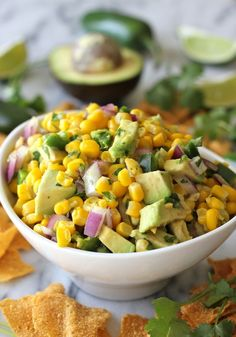 Avocado Corn Salsa - Tastes just like Chipotle's corn salsa but it's really a million times better! Chipotle Corn Salsa, Avocado Corn Salsa, Fresh Avocado, Beef Enchilada Dip, Cooking Recipes, Healthy Recipes, Healthy Meals, Delicious Recipes, Advocare Recipes