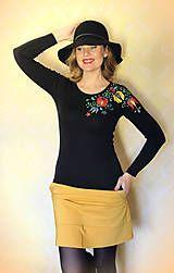 Tričká - Maľované tričko farebné folk kvety... - 8661118_