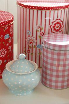 Greengate - pink gingham tin