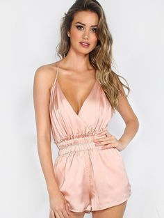 4b57b966ef Pink Satin Low Open Back Romper. Ruffle JumpsuitBackless ...