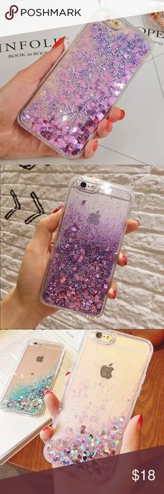 New Moving Water Sparkle IPhone 6/6s Case This awesome and fun phone case features a layer of moveable glitter in water. The glitter is pink with little hearts. Such a fun and original phone case! Last two pictures best represent the color. Pink and shiny glitter with a clear case. Accessories Phone Cases