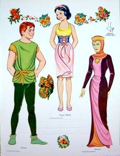 I loved my snow white paper dolls and can remember all these outfits!