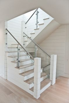Nantucket glass Railing beach-style-staircase