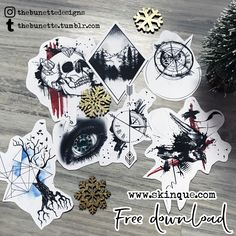 Free trash polka compass clock raven tree eye realistic skull tattoo designs illustartion
