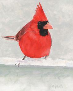 Red Cardinal Bird Print - Garden Wildlife Home Decor Wall Art Giclee Kinds Of Birds, Love Birds, Beautiful Birds, Beautiful Things, Wildlife Home Decor, Origami, Printable Pictures, Cardinal Birds, Shades Of Red