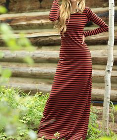This Orange & Black Stripe Maxi Dress - Women is perfect! #zulilyfinds