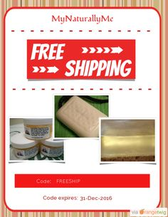 We are happy to offer FREE SHIPPING on our Entire Store. Coupon Code: FREESHIP Expiry: 31-Dec-2016 Click here to view all products:  Click here to avail coupon: https://orangetwig.com/shops/AAAWWt3/campaigns/AABptEI?cb=2015011&sn=MyNaturallyMe&ch=pin&crid=AABptFQ