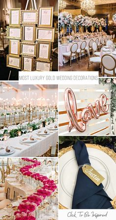 Gold decoration for wedding is sophisticate, elegant and timeless. Gold wedding decorations are fine basic or accent color for any time of the year. #weddingforward #wedding #bride #weddingdecor #GoldDecor