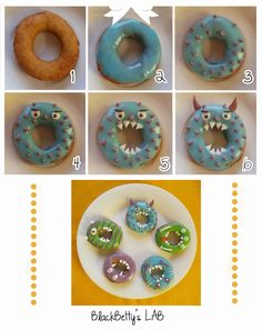 Halloween: Tutorial Donuts-Monster  http://blackbettyslab.blogspot.it/2013/10/halloween-tutorial-ciambelle-mostro.html