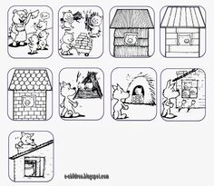 3 Little Pigs cards House Colouring Pages, Coloring Books, Coloring Pages, Sequencing Cards, Story Sequencing, Talk 4 Writing, Three Little Pigs Story, Learn Greek, Pig Crafts