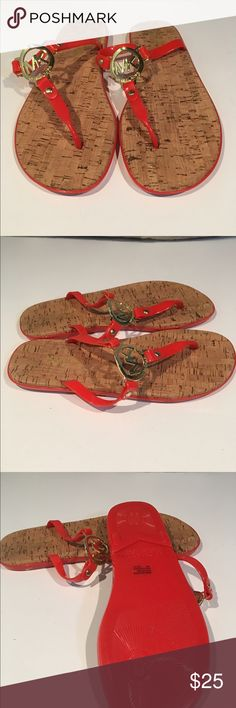 Brand New Michael Kors flip flops size 8 These are beautiful!!! We are cleaning out closets and have many designer items to find new homes for. Priced to sell!!!  Bundle bundle bundle. BRIGHT ORANGE!!! Size 8 Michael Kors Shoes Sandals