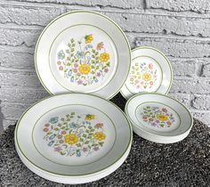 Excited to share this item from my #etsy shop: 8 Sets Dinner & Salad Plates Corelle Meadow Corning Ware 70s Decor Flower Power Pastel Wildflowers Spring Garden Kitsch Breakfast Brunch
