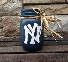 Hey Yankee fans! Yankees. Baseball. Mason Jars. Ball Mason Jar. by JarsByMonica, $8.00