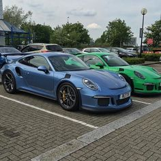 The only known PTS Gemini Metallic (335) 991 GT3 RS, chilling with my friend Glenn (@cakemancarcycle)'s PTS Grün (formerly RS Green; 2D8) RS, somewhere in the UK. Easily one of the most well received colors on PTSRS. This one is also for you @cjwilsonphoto. : @cakemancarcycle | Follow @ptsrs and join the #PTSRS movement for the latest on the newest #painttosample Porsche 991 GT3 RS's, and soon 911 R's.