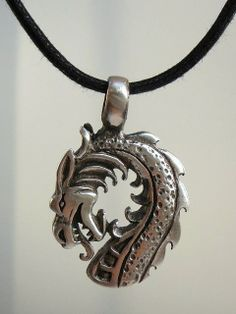 Dragon pendant and black cord necklace  for by CreationsChantal, $16.00