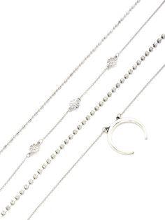 4 piezas de collar con diseño de luna y flor