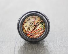 Map of London  Vintage Antique Silver Dresser Knobs by jade4wood, $6.20