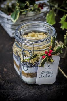 Preparato per cookies al cioccolato, fiocchi d'avena e arachidi- cookie mix in a jar