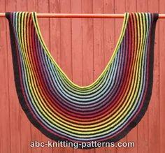 ABC Knitting Patterns - Rainbow Striped Shawl