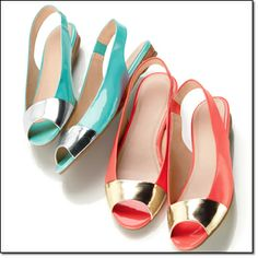 """Peep-Toe Slingback Sandal Patent-like upper with metallic-color accent. Comfort slingback with stretch inset. Padded footbed. 5/8"""" H microwedge. Coral, Turquoise Whole Sizes: 6M-10M Half sizes, order one size up. Price: $29.99 each pair BUY 1, GET 1 50% OFF, Mix or Match, Of Equal or Lesser Value, Pages 136 thru 139 http://www.youravon.com/dgrant8834"""