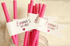 Personalised Hen Party Straw Flags/Cupcake by confettisweethearts