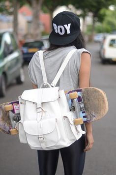 Penny board fashion tip: wear a backpack and put your penny board sticking out! (Maddison's official picture wearing Liv's hat lol thanks)