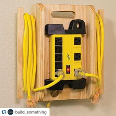 """Use your Kreg Jig® to make this must-have shop accessory! Repost @build_something: """"Power up your workspace with this #DIY! ⚡️ It features an 8-outlet power strip mounted to a handy cord organizer that holds two extension cords. Hang it on the wall or take it with you to power your tools. Find the free plans at buildsomething.com"""""""