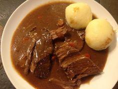 Burgundy Roast with Root Veggies and German Potato Dumplings