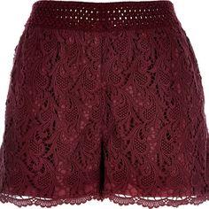 River Island Dark red crochet shorts (30 PAB) ❤ liked on Polyvore featuring shorts, bottoms, river island, pants, red, sale, red crochet shorts, river island shorts, tall shorts and macrame shorts