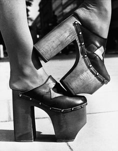 Platform shoes with eight inch heels, 1970s