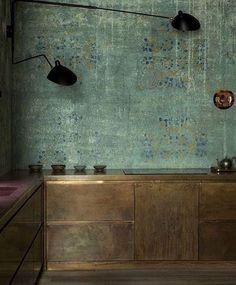 fionafidderRustic Chic. #loveit #interiors #sergemouille #lighting #midcenturymodern #interiordesign #styling #greenwalls #mutedtones #chicspaces #kitchendesign #design #inspiration #designerunknown #moodyinteriors