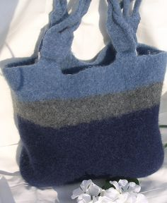 Felted Purse with Braided Handles and Silver by felting4you, $89.00