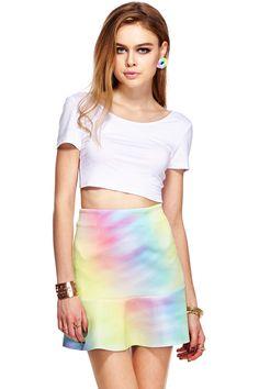 ROMWE Colorful Print A-line Falbala Skirt #romwebeyondthecolor