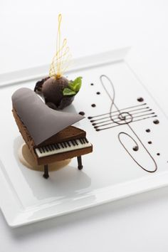 Marvelously lovely Chocolate Dessert Piano served at the Palace Hotel Tokyo, Japan. #desserts #food_photography