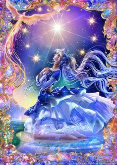 The Star Art by Takaki Art Anime Fille, Anime Art Girl, Beautiful Fantasy Art, Beautiful Fairies, Anime Fantasy, Fantasy Girl, Yuumei Art, Photo Manga, Art Visionnaire