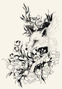 By Teagan White this would be a beautiful back tattoo Beautiful Back Tattoos, Fuchs Baby, Graphic Projects, Fox Tattoo, Fox Art, Animal Coloring Pages, Camouflage, Cute Drawings, Line Art