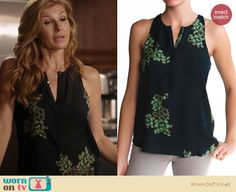 Rayna's black and green printed blouse on Nashville. Outfit Details: http://wornontv.net/21205 #Nashville #ABC